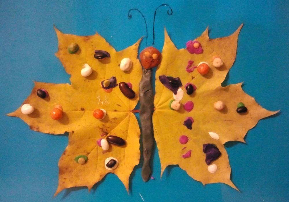 Поделки из листьев и пластилина